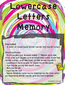 Lowercase Letters Memory
