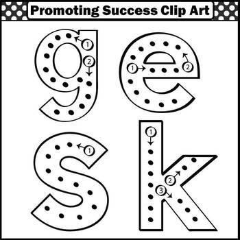 Lowercase Letters Clip Art, Black & White Alphabet Clipart, SPS