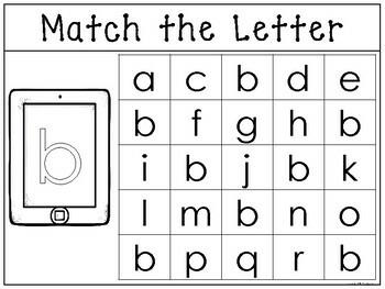 Lowercase Match the Letter Worksheets/Work Mats. Preschool-Kindergarten Phonics