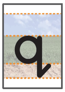 Lowercase a-z A6 flashcards sky/grass/ground