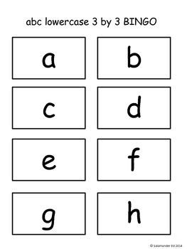 Lowercase alphabet 3 by 3 BINGO!