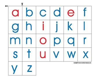 Montessori Lowercase alphabet in print, to trim