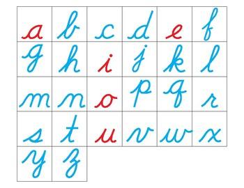 Montessori Lowercase alphabet in cursive, to trim