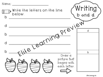 Lowercase b, d, p, q Sort and Writing Practice