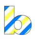 Lowercase blue/white/yellow letters a-z