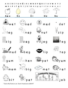 Lowercase consonant vowel consonant words Reading with Pictures, Centers