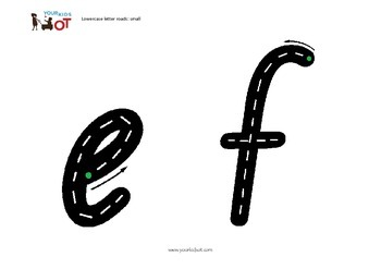 Lowercase letter roads (small) - learn the alphabet, handwriting