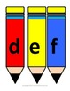 Lowercase letters on pencils