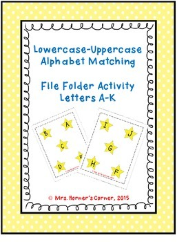 Lowercase to Uppercase Letter Matching (A-J) - File Folder Activity