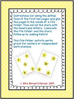 Lowercase to Uppercase Letter Matching (K-T) - File Folder Activity