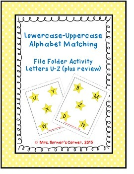 Lowercase to Uppercase Letter Matching (U-Z) - File Folder