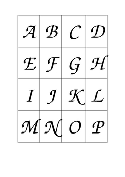 Lower/upper case alphabet matching cards