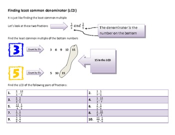 Least Common Denominator Graphic Organizer and problem examples