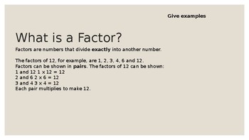 Lowest Common Multiple, Prime Factorization & Greatest Common Factor PowerPoint