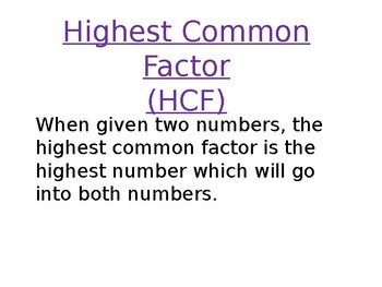 Lowest Common Multiple and Highest Common Factor lesson