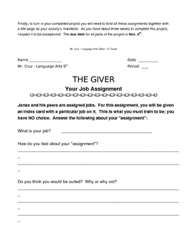 Lowry's The Giver project, assignments, & test
