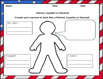 Loyalist, Patriot or Neutral Sensory Figure Worksheet
