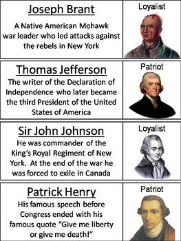 Loyalists and Patriots Word Wall Cards