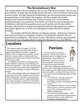 Loyalists v Patriots Comparison