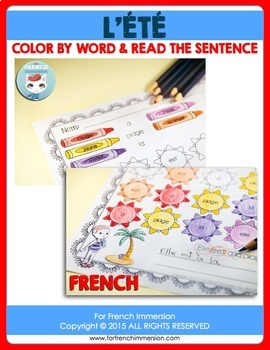 FRENCH Summer Color by Word | Été