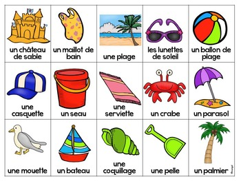 L'été:  Summer Themed Bingo Game in French