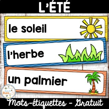 Été - vocabulaire / French Summer words FREEBIE!