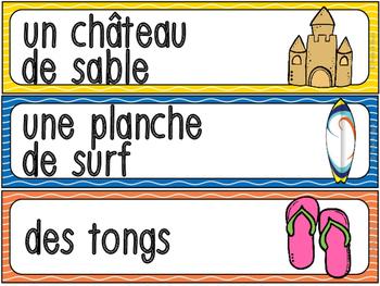 Été - vocabulaire / French Summer words FREEBIE!