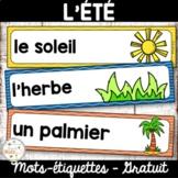 Été - Vocabulaire - Mots étiquettes - French Summer Word Wall