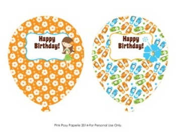 Luau Birthday Balloons - 4 Different Designs