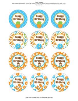 Luau Birthday Pencil Toppers