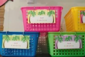 Classroom Decor Luau Book Basket Labels Editable