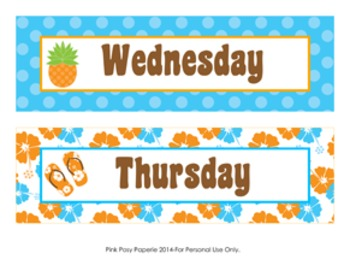 Luau Classroom Decor Days of the Week Calendar Headers