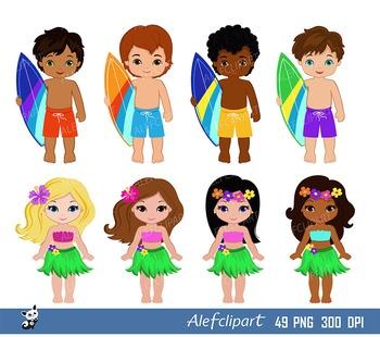 Luau Clipart, Hawaii Clipart, Hula Girl ClipArt , Aloha Clipart, Tiki Clipart,