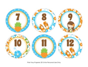 Luau Cubby Number Labels 1-30