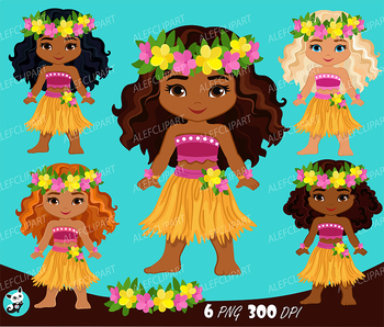 Luau Dancers, Hawaii tropical, Luau Clipart, hula girls ...