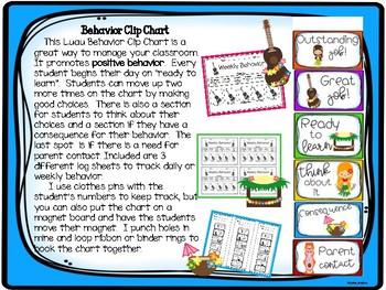 Luau Hawaiian Behavior Clip Chart