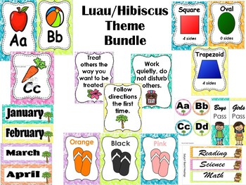 Luau Hibiscus Theme Bundle