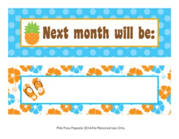 Luau Monthly Calendar Headers