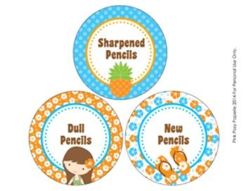 Luau Pencil Caddy Labels