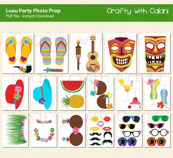 Luau Photo Booth Prop, Hawaiian Party Photo Booth Prop, 40 ready print images