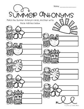 Luau / Summertime: Antonyms Match Center (Basic)