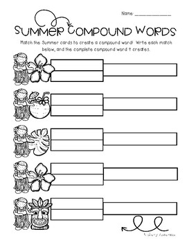 Luau / Summertime: Compound Word Match Center