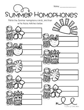Luau / Summertime: Homophone Word Match Center