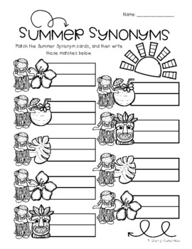 Luau / Summertime: Synonyms Match Center (Basic)