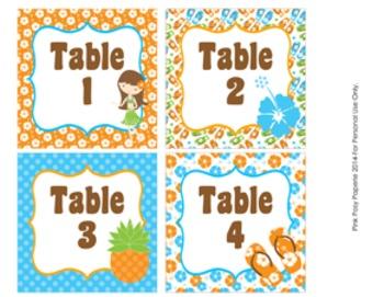 Luau Table Numbers