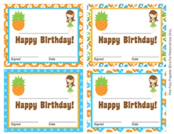 Luau Theme Birthday Certificates