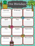 Luau Themed Birthday Chart