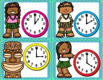Luau Time- Matching analog and digital time to every hour and half hour