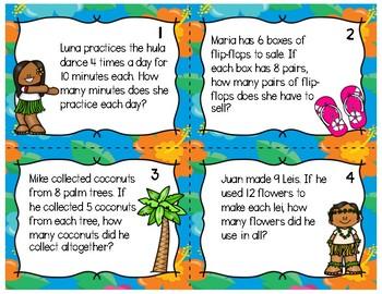 Luau Word Problem Task Cards (one-step/multiplication/ 3rd grade)