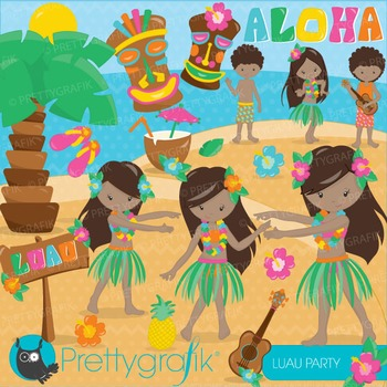 Luau party clipart commercial use, vector graphics, digital - CL676